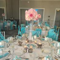 Beautiful flowers in ornate glass containers can make the perfect centerpiece!