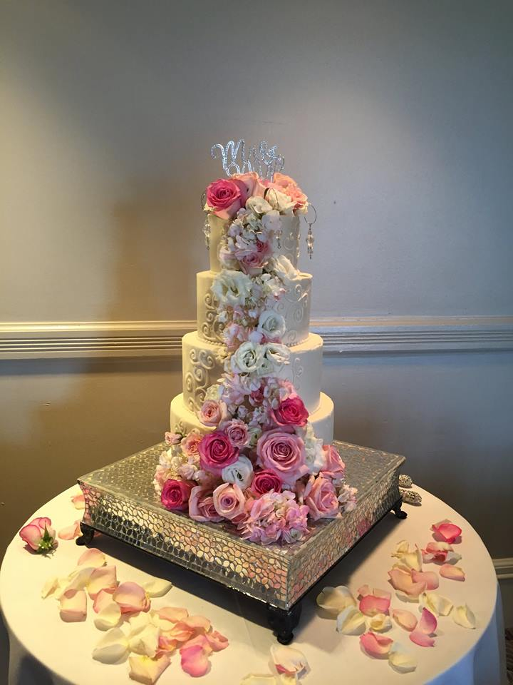 wedding cascading floral cake topper